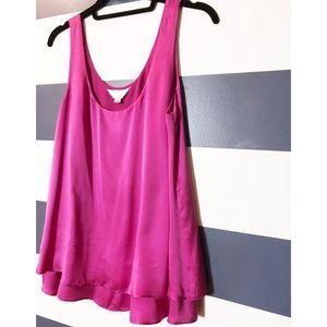 ZOA Silk layered Trapeze tank blouse HOT PINK M
